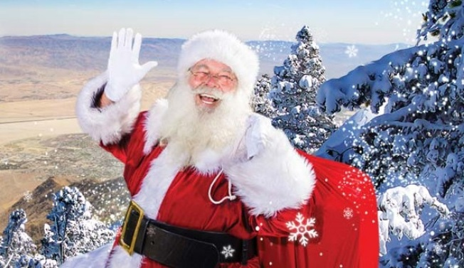 Santa Rides the Tram to the Top