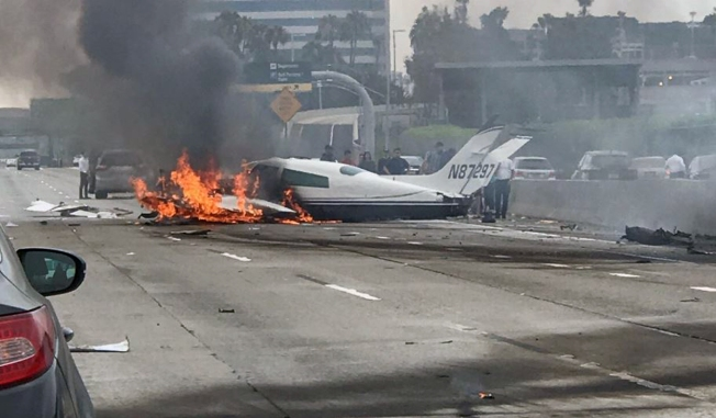 Two Hospitalized After Fiery Plane Crash on 405 Freeway in