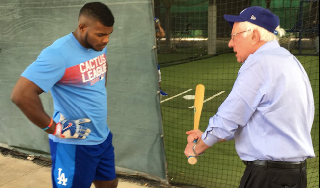 Feel the Bern! Vermont Senator Bernie Sanders Visits Dodgers Spring Training