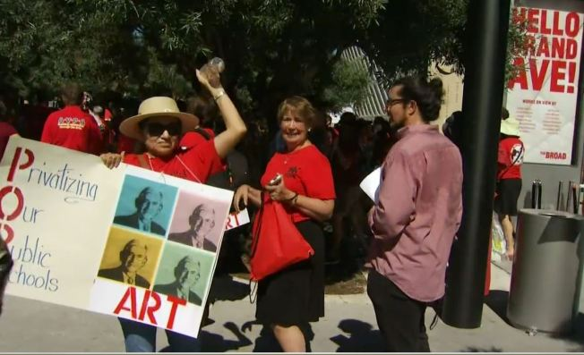 UTLA, Students Protest Charter School Plan At Broad Museum Opening