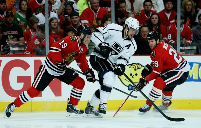 Kopitar Held in Check by Toews in Game 1 Loss