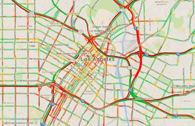 La Freeway Traffic Map.Fire Freeway Closures Snarl Downtown Traffic Nbc Southern California