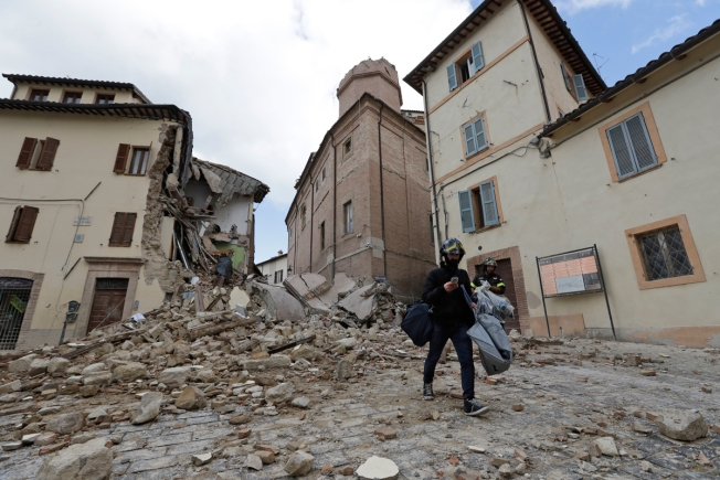 Damaged Buildings Crumble After Another Powerful Earthquake Rattles Italy