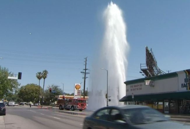 Valley Village Gusher Leaves Businesses Drenched