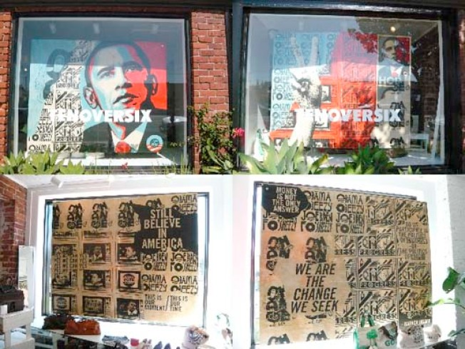Window Shopping: Shepard Fairey Brings Obama to TenOverSix