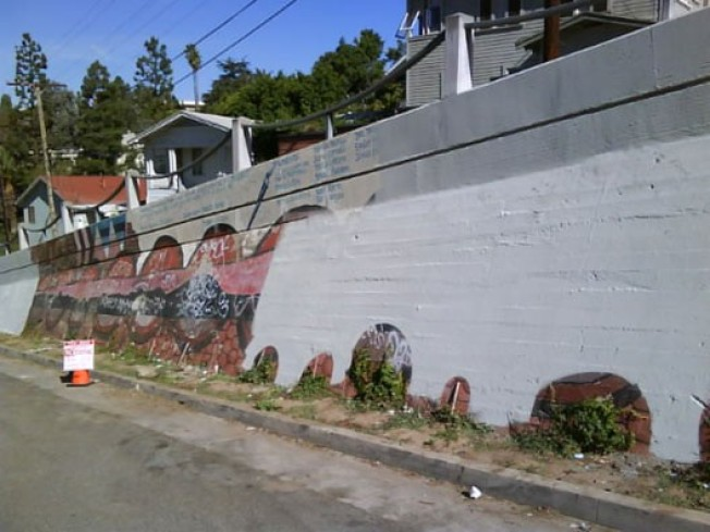 Tagged Up Echo Park Mural Gets Whitewashed