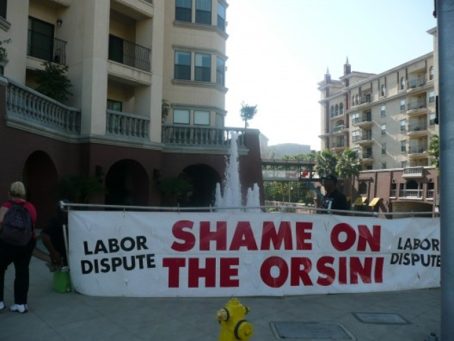 Orsini Picketers On the Move, But Without A Rat