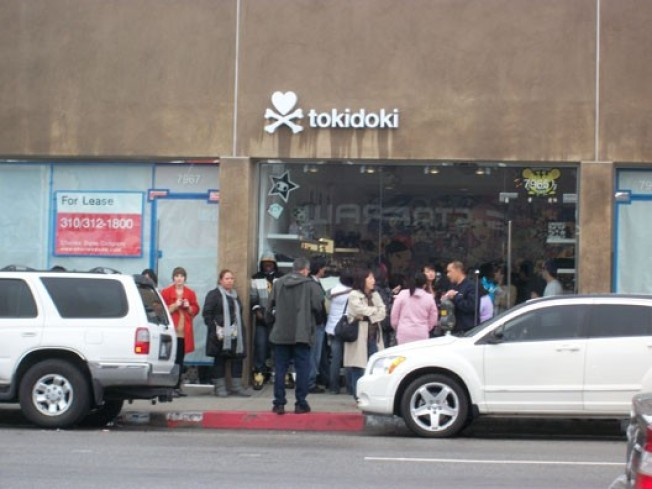 Now Open: Sizeable Crowd Braves the Rain for Tokidoki, Cupcakes, and Karl