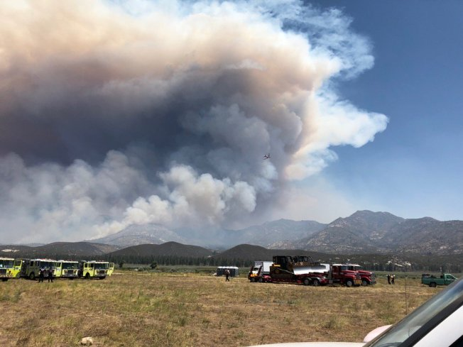 Wildfire Burns in Riverside County's Pinyon Pines Area