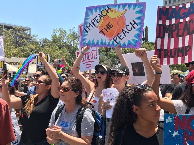 Massive Crowds Rally To Impeach President Trump In Downtown Los Angeles