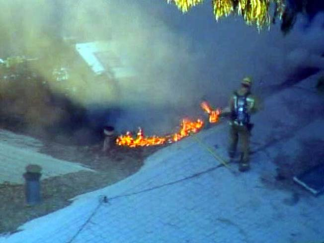 Crews Battle House Fire in Santa Monica Area