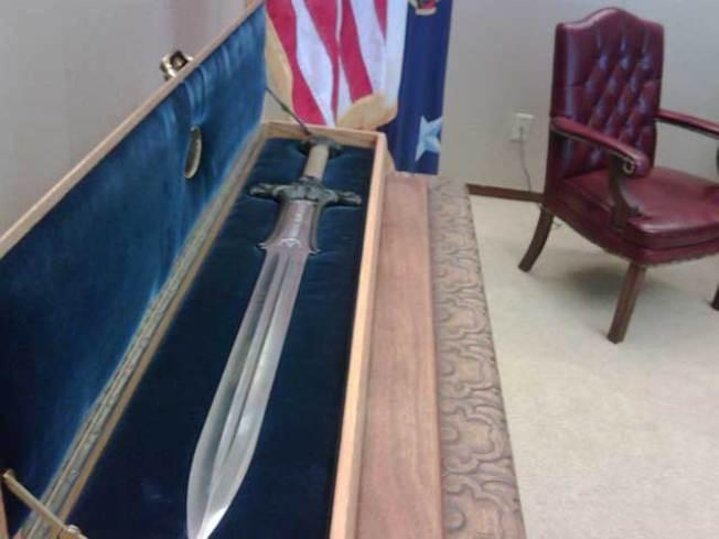 "Arnold Keeps ""Conan"" Sword in Office"