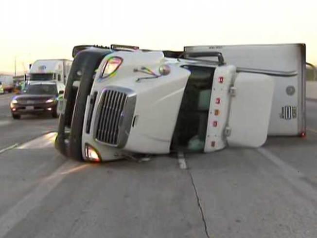 Fierce Winds Knock Over Trucks Near Fontana