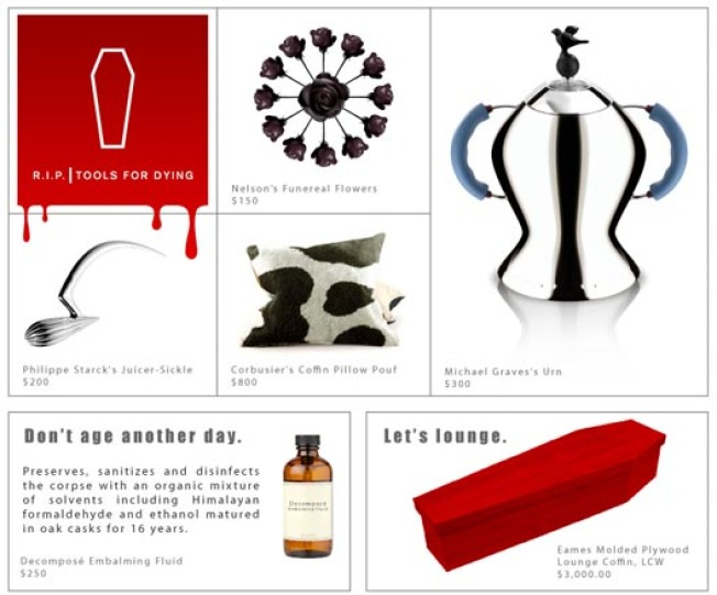 High-Design Macabre: New DWR Stores Parodied, Tools For Dying