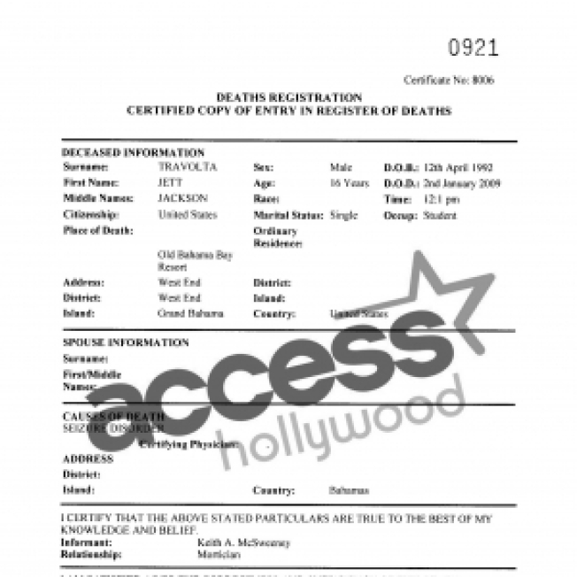 Death Certificate Indicates Jett Travolta Succumbed To