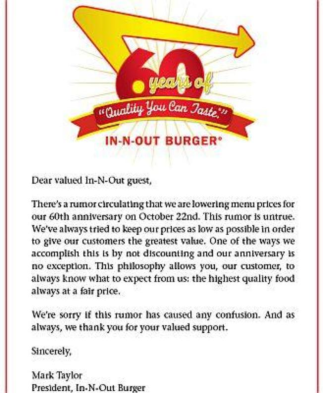 Happy 60th Anniversary In-N-Out, But 25-Cent Burgers Would've Been Nice