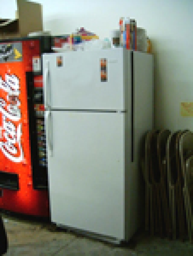 Steve & Barry's Liquidating Everything But Kitchen Sink:  The break room refrigerator is...