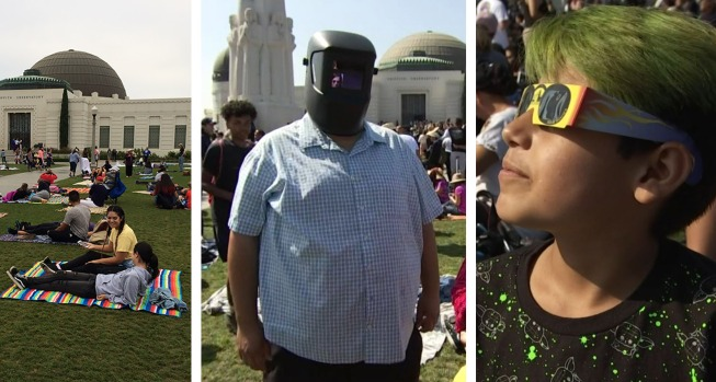 Eclipse fans flock to Griffith Observatory for viewing party