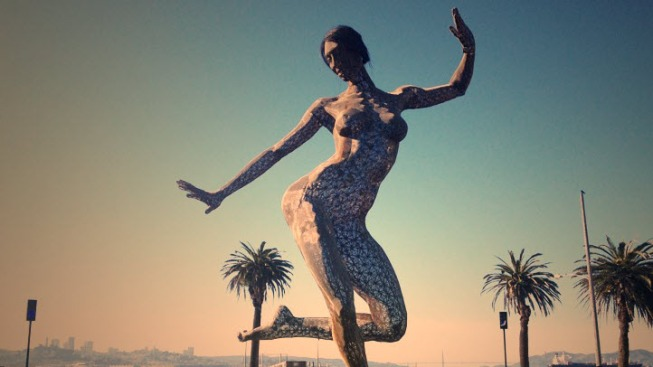 Treasured, Giant Female Nude Sculpture in Disrepair