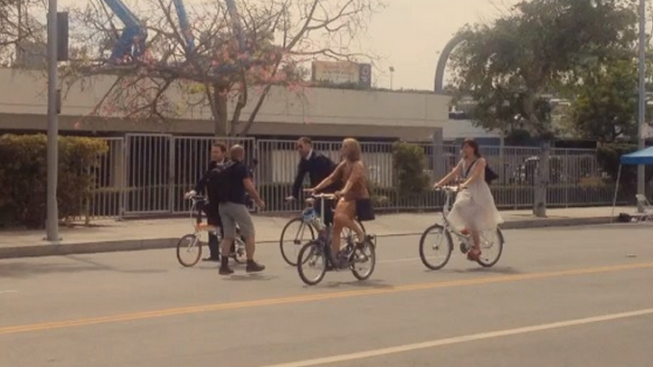 """Mad Men"" Writer Rides Bicycle to Emmys"