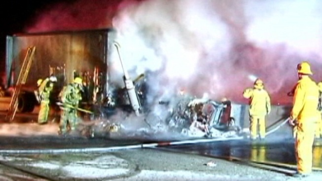 Wrong-Way Driver Killed in Fiery Crash on 210 Freeway in Sylmar