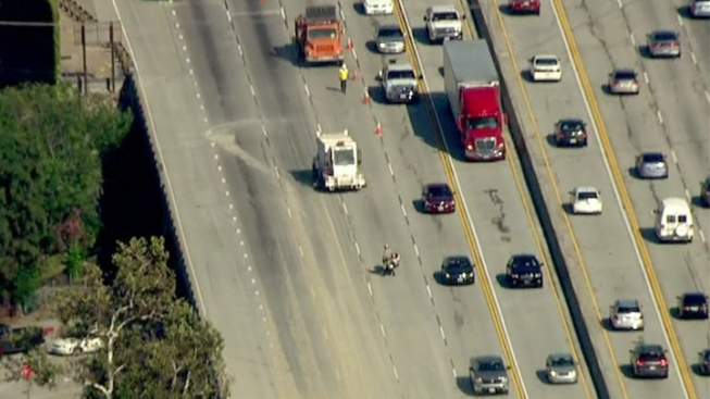 Rock Spill Snarls Commute on 210 Freeway