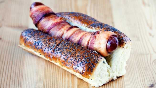 Free: The Bacon-Stuffed/Wrapped Hot Dog