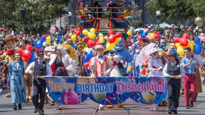 The 'Happiest March on Earth' Fêtes Disneyland's 64th