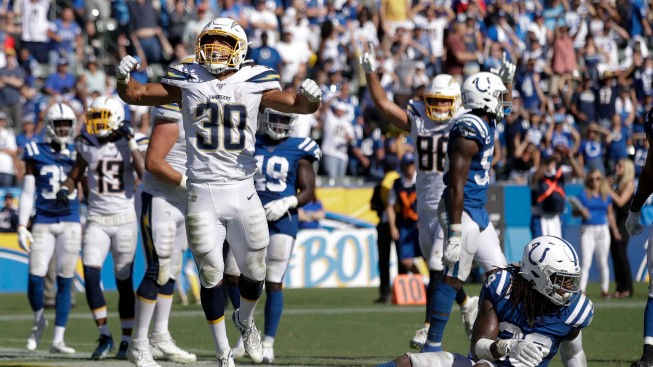 Ekeler Scores 3 Touchdowns in Chargers 30-24 OT Win Over Colts