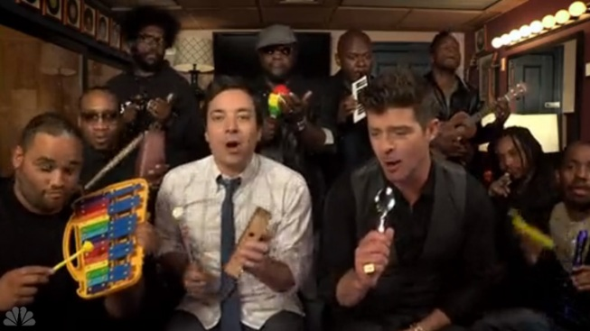 "WATCH: Fallon & Robin Thicke Cover ""Blurred Lines"" With Kids' Instruments"