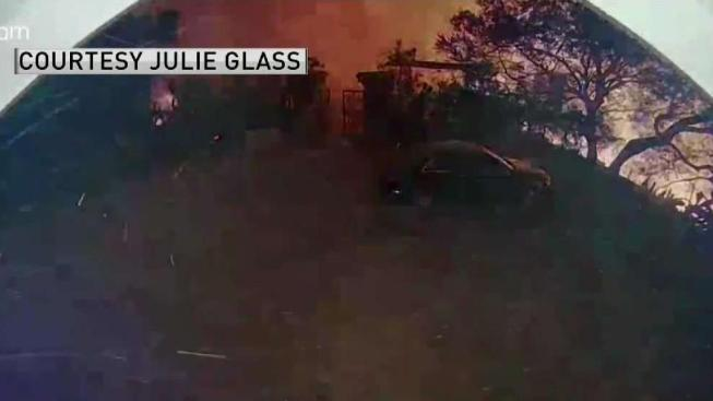 family watches through doorbell camera as woolsey fire inches closer