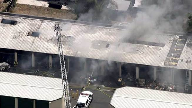 Fire Grows at Storage Complex in Moreno Valley, Injuring 6 Firefighters