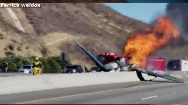 Model Plane Crash Lands Bursts Into Flames On 101 Freeway In Agoura Hills