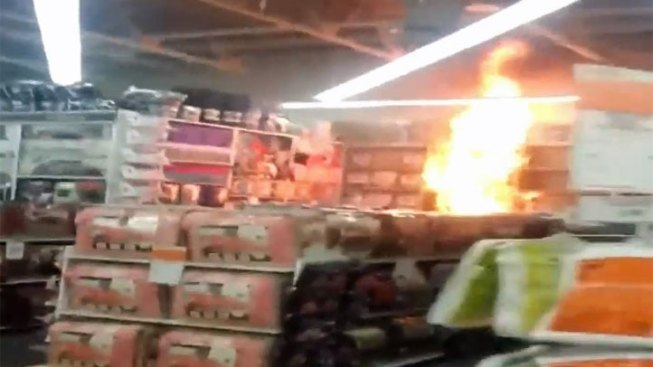 Caught on Cam: Store Display Explodes in Flames
