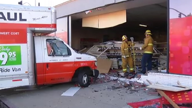 U-Haul Truck Crashes Into Drug Store in Van Nuys