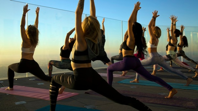 OUE Skyspace LA Yoga: Down Dog Above Downtown