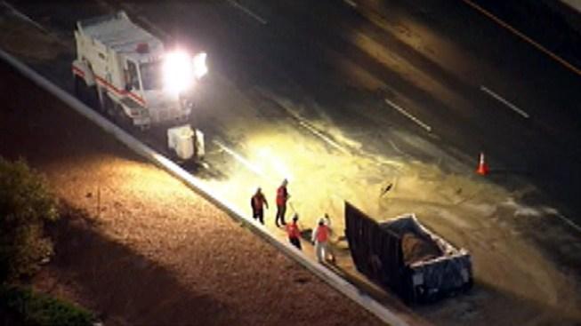 Asphalt Spill After Crash Closes 710 Freeway Lanes at Florence Avenue