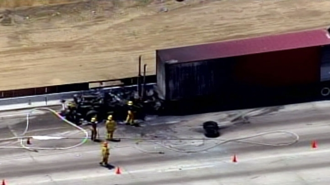 405 Freeway Lanes Reopen After Big Rig Fire