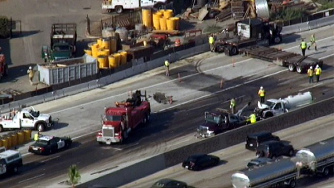 Fuel Spill After Crash Closes EB 10 Freeway Near Baldwin Park