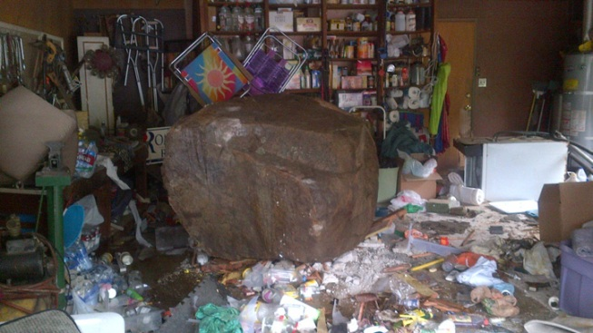 Boulder Smashes Into Home in San Diego County