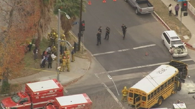Student, Adult Injured When School Bus Crashes in San Fernando Valley