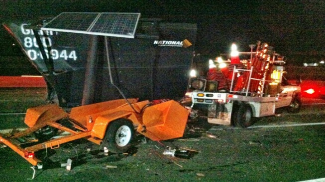 Four Injured in 14 Freeway Construction Truck Crash