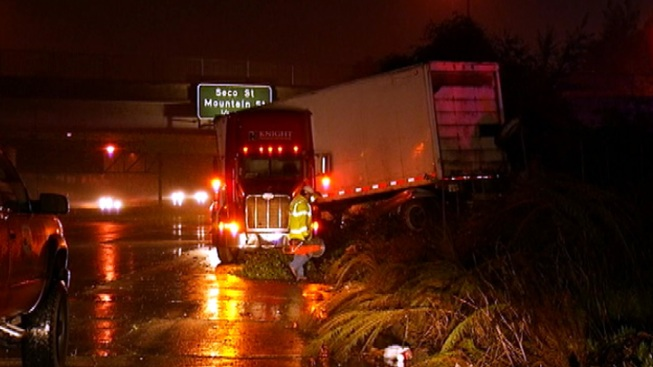 Big Rig Crashes on Freeway Transition Road in Pasadena