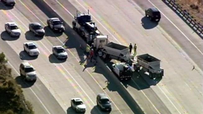 Big Rig Crashes Through Divider on 14 Freeway in Agua Dulce