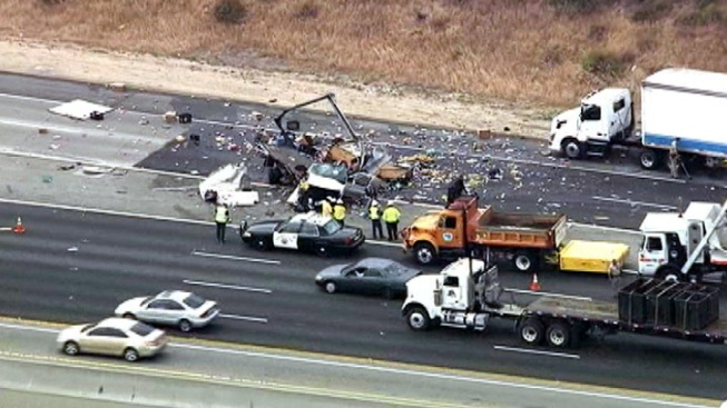 Two Killed When Big Rig, Truck Collide on Pomona Freeway