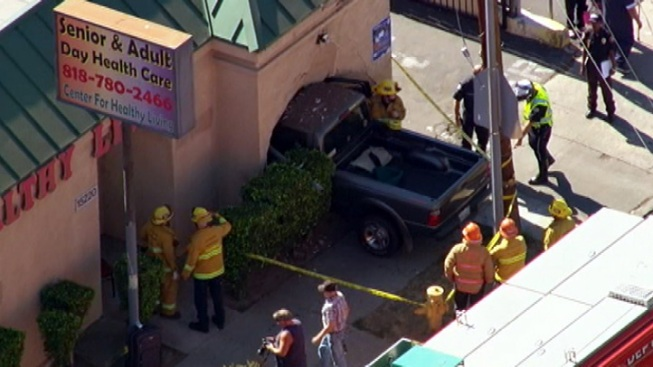 Pickup Crashes Into Van Nuys Building