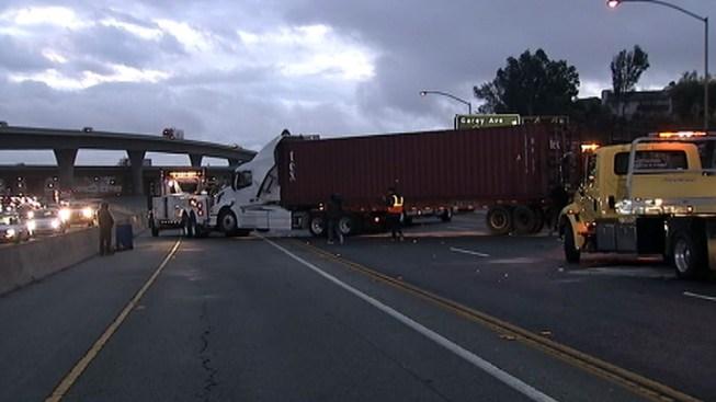Big Rig Crashes Slow Morning Drive on 60 Freeway in Pomona