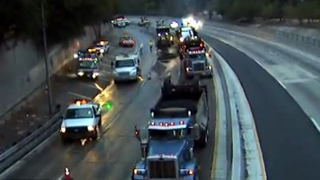 Lanes Reopen After Truck Overturns on 110 Freeway