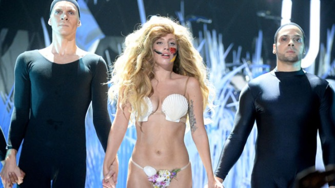 Lady Gaga Wears a Seashell Bikini Thong and Nothing Else at VMAs