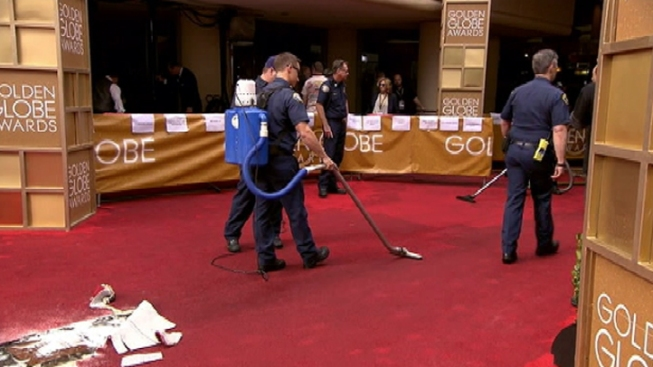 Sprinkler Soaks Red Carpet at Golden Globes